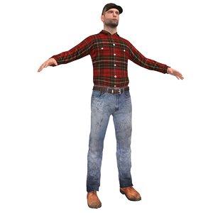 farm worker 3d model