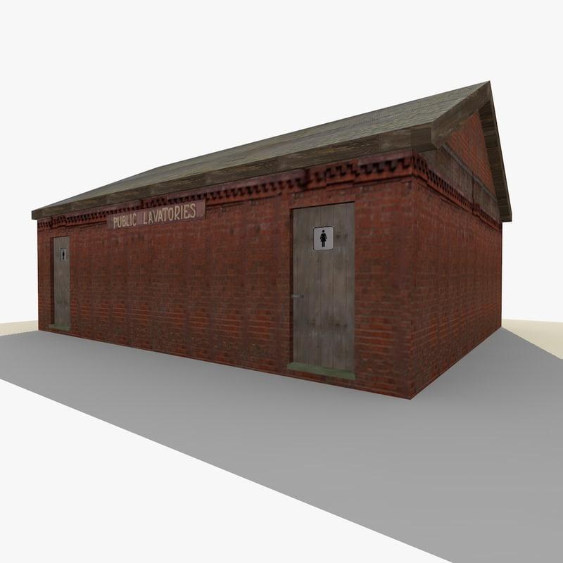 3d old public toilet building exterior