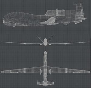 3d model rq-4 global hawk
