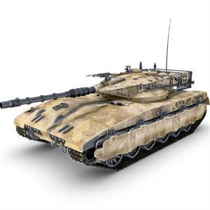 3d merkava tank gun model