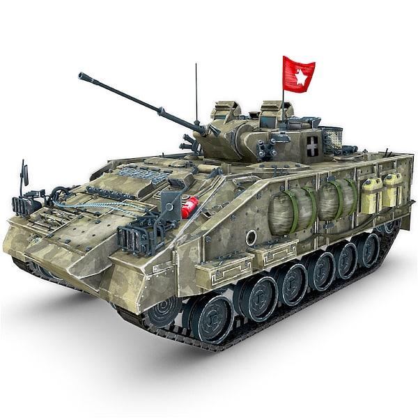 warrior tank gun 3d obj