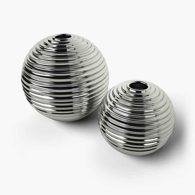 c4d design metallic vases