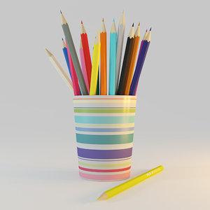 pencils colored 3d max