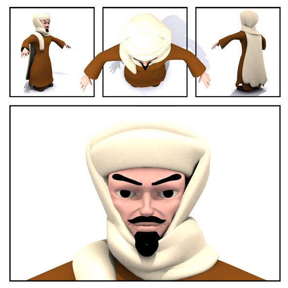 3d arab character ready model