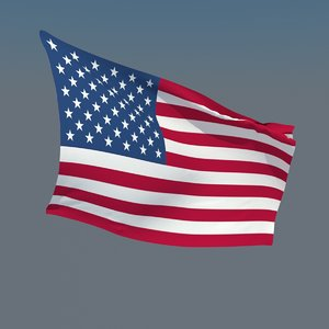 3d model of animate flags usa