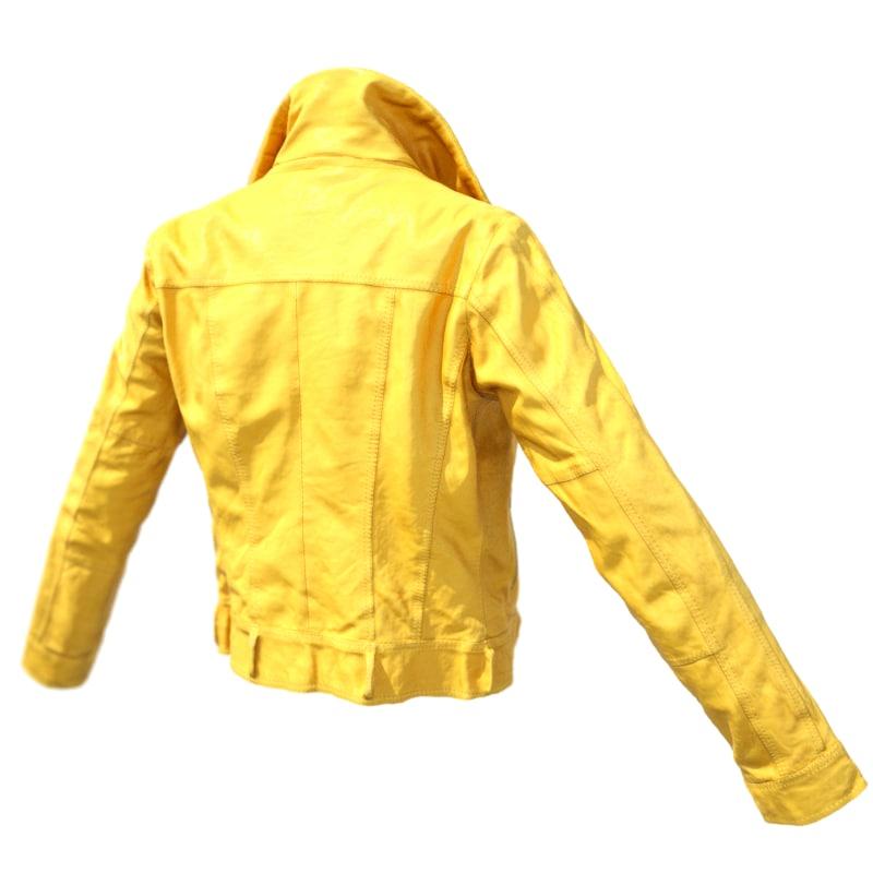obj yellow leather jacket