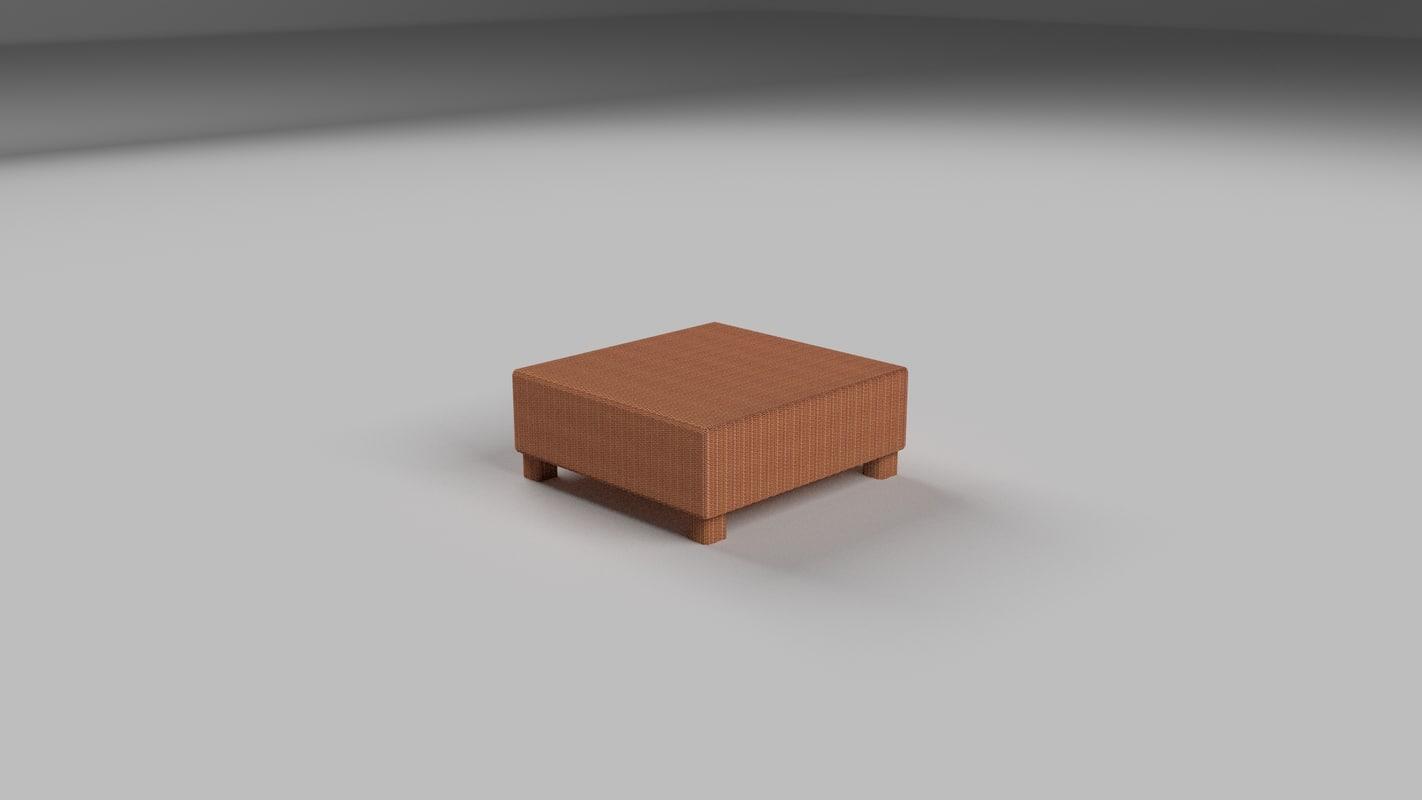free wicker table 2 3d model