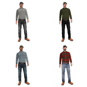 3d pack rigged worker
