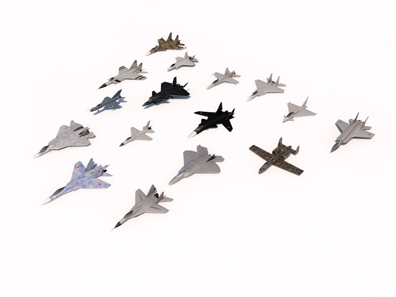 16 military aircrafts pack 3d model