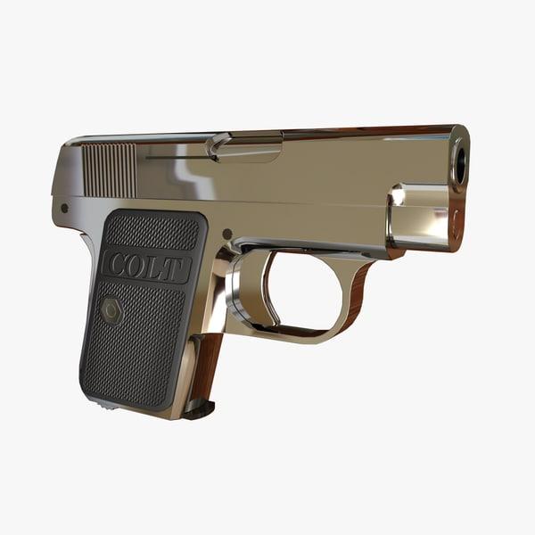 3d model cal 25 colt automatic