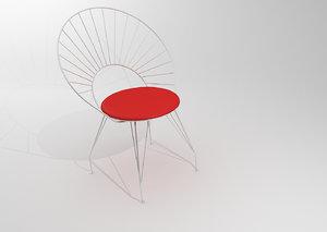 3d model chair steel