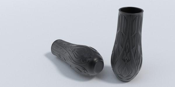 black porcelain vase 3d obj