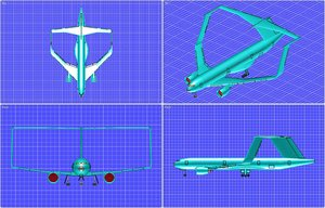 3d box wing transport aircraft model