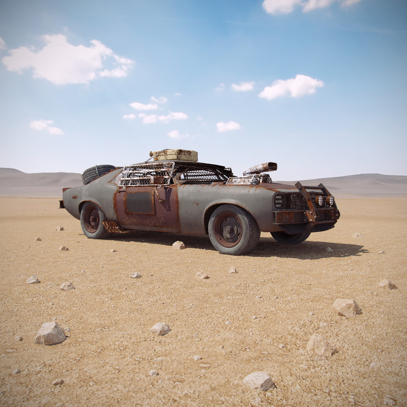 post apocalyptic muscle car 3d max