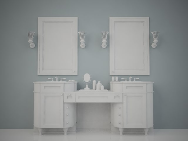 3ds max neoclassic bathroom sink