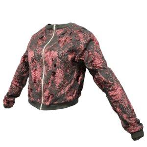 red glitter jacket obj