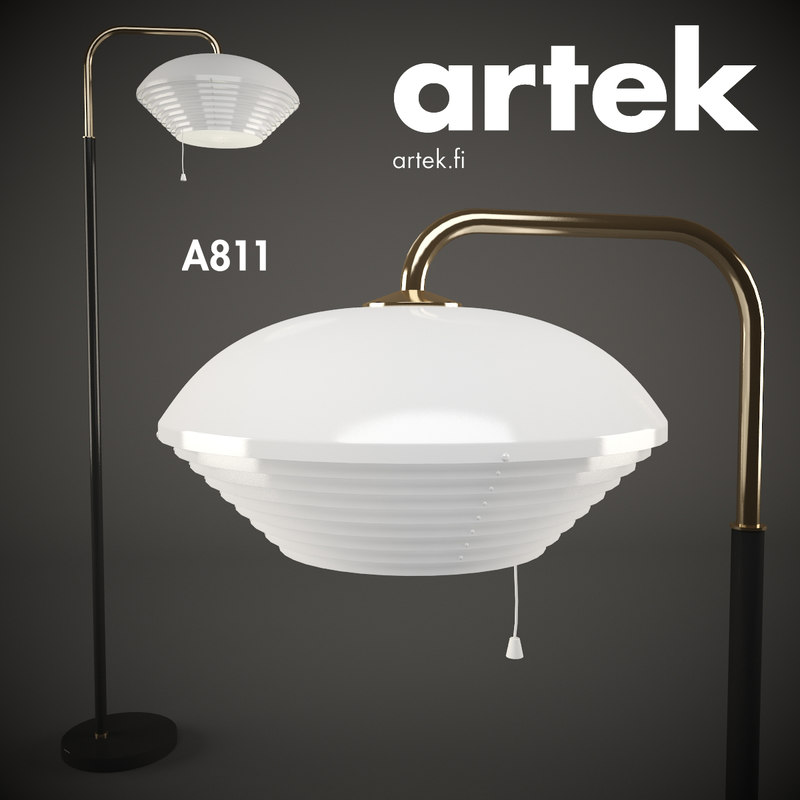 3d model artek floor lamp a811