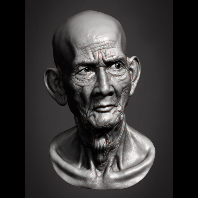 cambodian old man head 3d obj