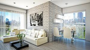 3d model minimalist interior