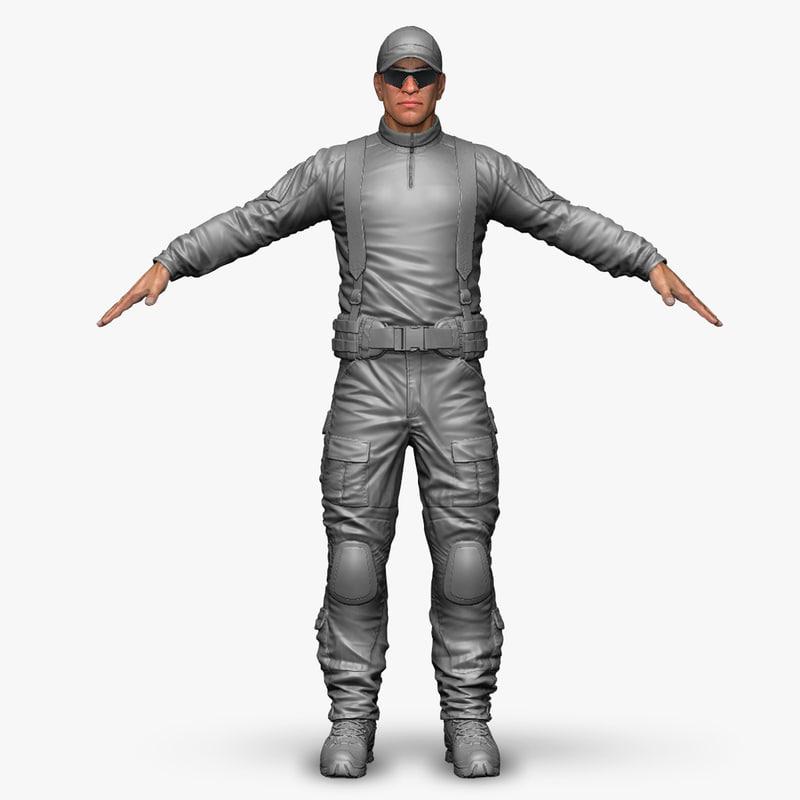 3d model qualitative zbrush military male