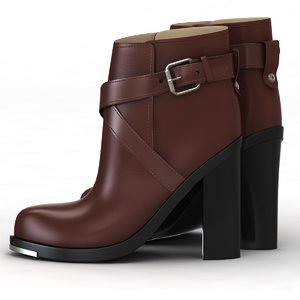 3d model winter shoe brown