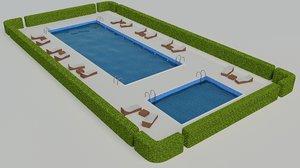 3d model pool scene