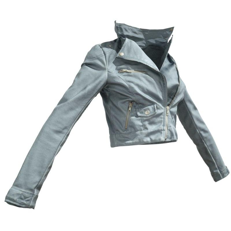 grey leather jacket 3d obj