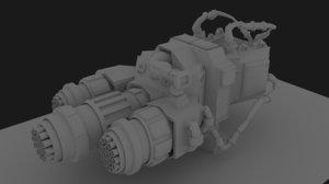 3d mounted triple gun model