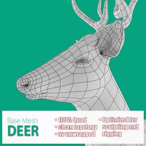 base mesh deer 3d max