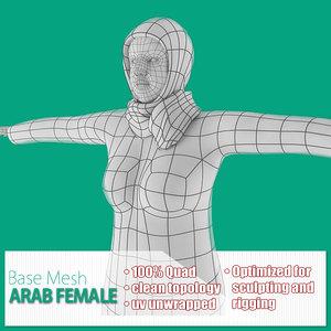 base mesh arab female 3d model