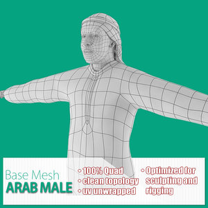 3d model of base mesh arab male