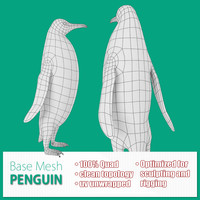 3d model base mesh penguin
