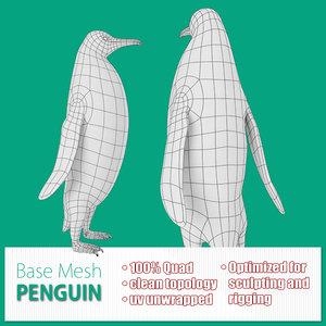 3d model base mesh penguin