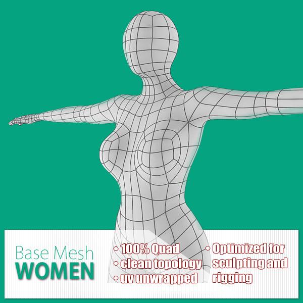 3d model base mesh women