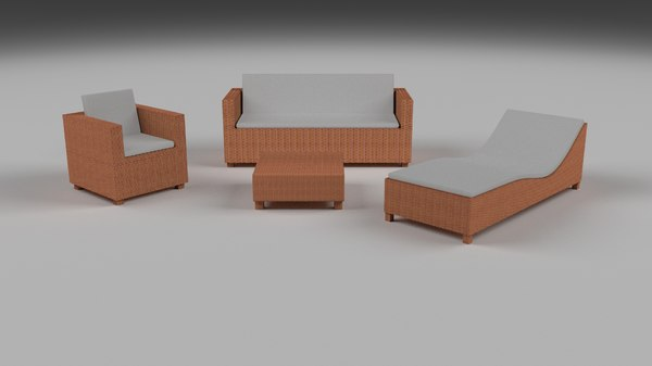 pack wicker furniture couch obj