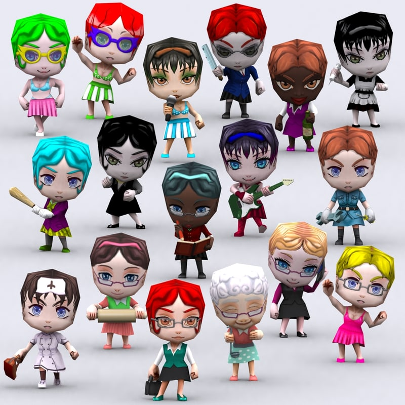 3d model chibii people females