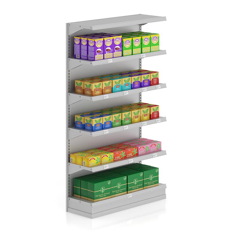 supermarket shelf tea 3d model