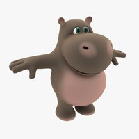 cartoon hippopotamus animal 3d max