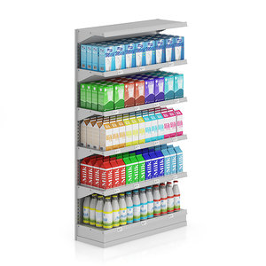 supermarket shelf milk c4d