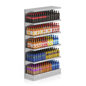 supermarket shelf drinks bottles 3d model