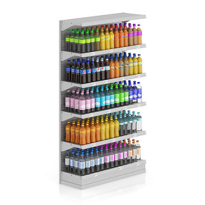 3d shelf bottle drinks model