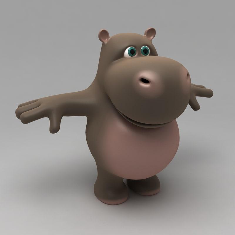 cartoon hippopotamus animal 3d max