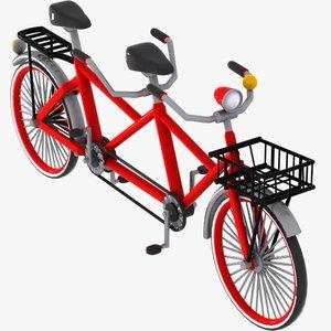 cartoon tandem bicycle 3d 3ds