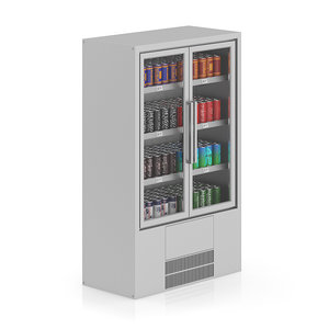 3d model of supermarket fridge canned drinks
