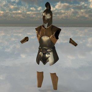 trojan warrior armor 3d obj