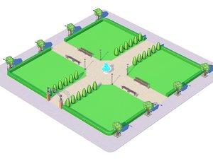 3d model city park cartoon toon