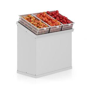 3d model supermarket shelf apples