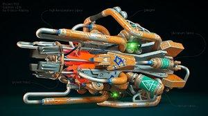 3d sci-fi cannon model