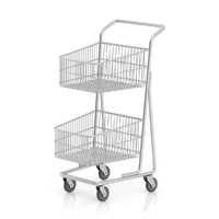 3d metal shopping cart model