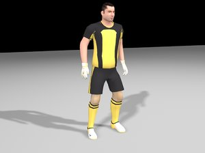 low-poly goalkeeper animation 3d max